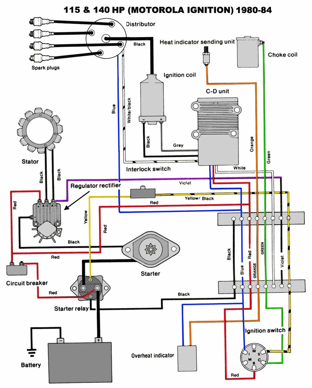Chrysler Outboard Wiring Diagrams Mastertech Marine Vanguard Key Diagram 115 140 Hp Motorola Ignition 1980 84