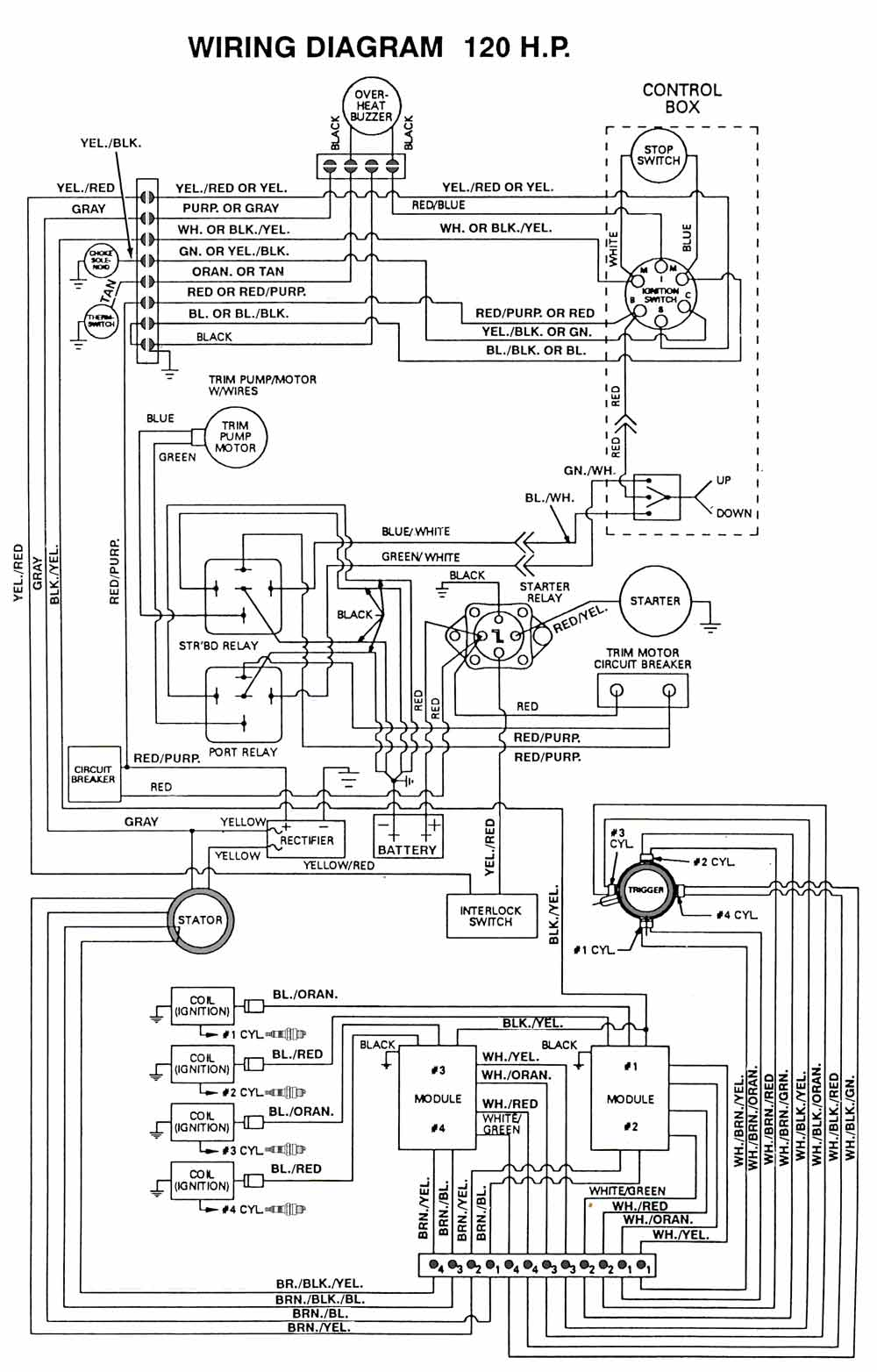Chrysler Outboard Wiring Diagrams Mastertech Marine 97 Toyota Power Antenna Diagram Force 120 Hp Thru 1991a Models Engine
