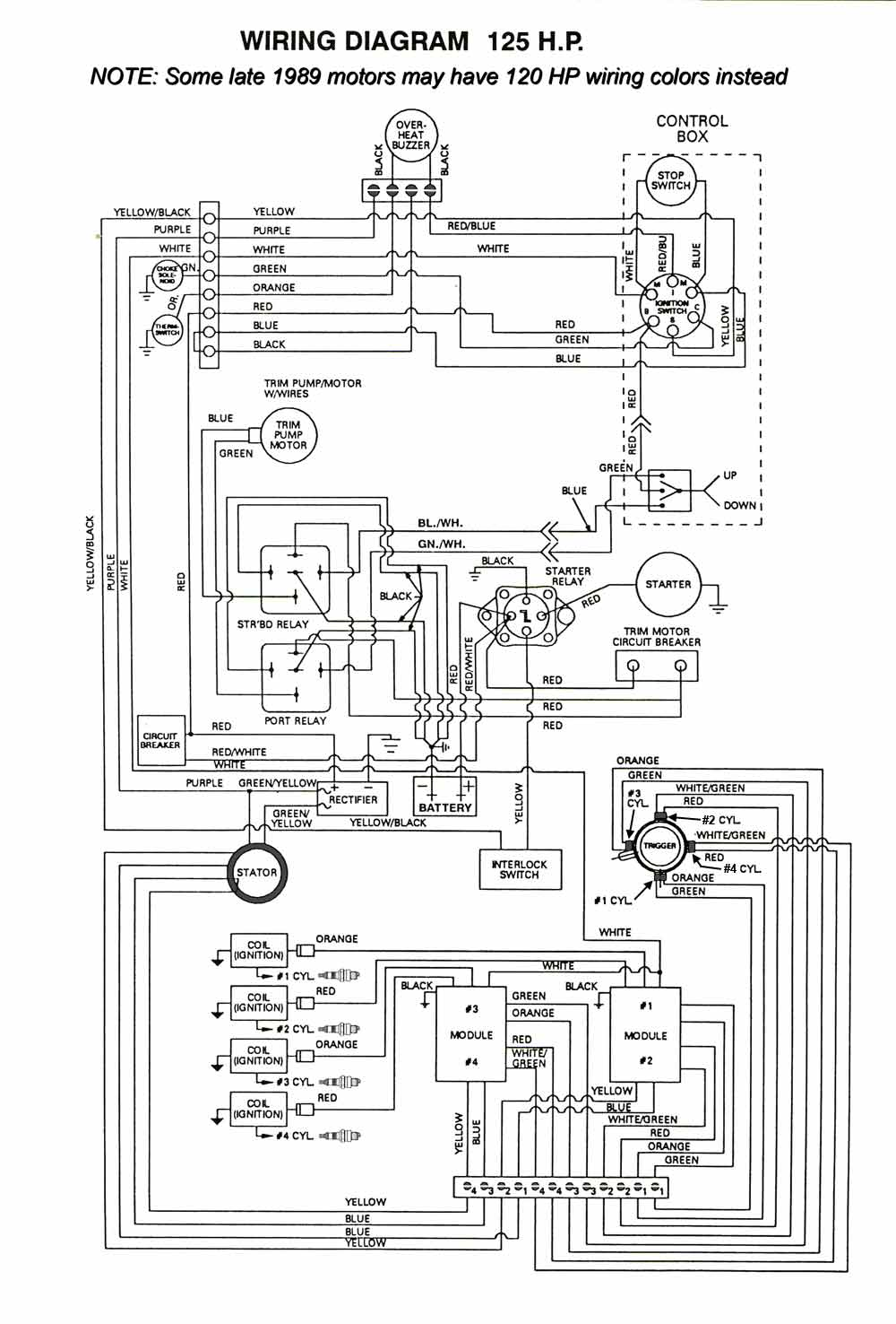 mastertech marine chrysler \u0026 force outboard wiring diagrams 125 HP Force Outboard Motor force 125 hp thru 1989 models engine wiring