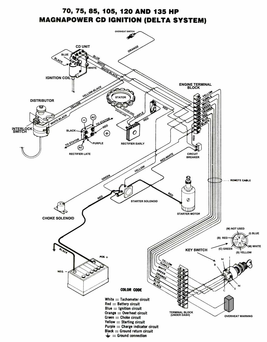 Chrysler Outboard Wiring Diagrams Mastertech Marine 1978 Mercruiser Diagram 75 135 Hp Magnapower Delta Cd Ignition With Alternator