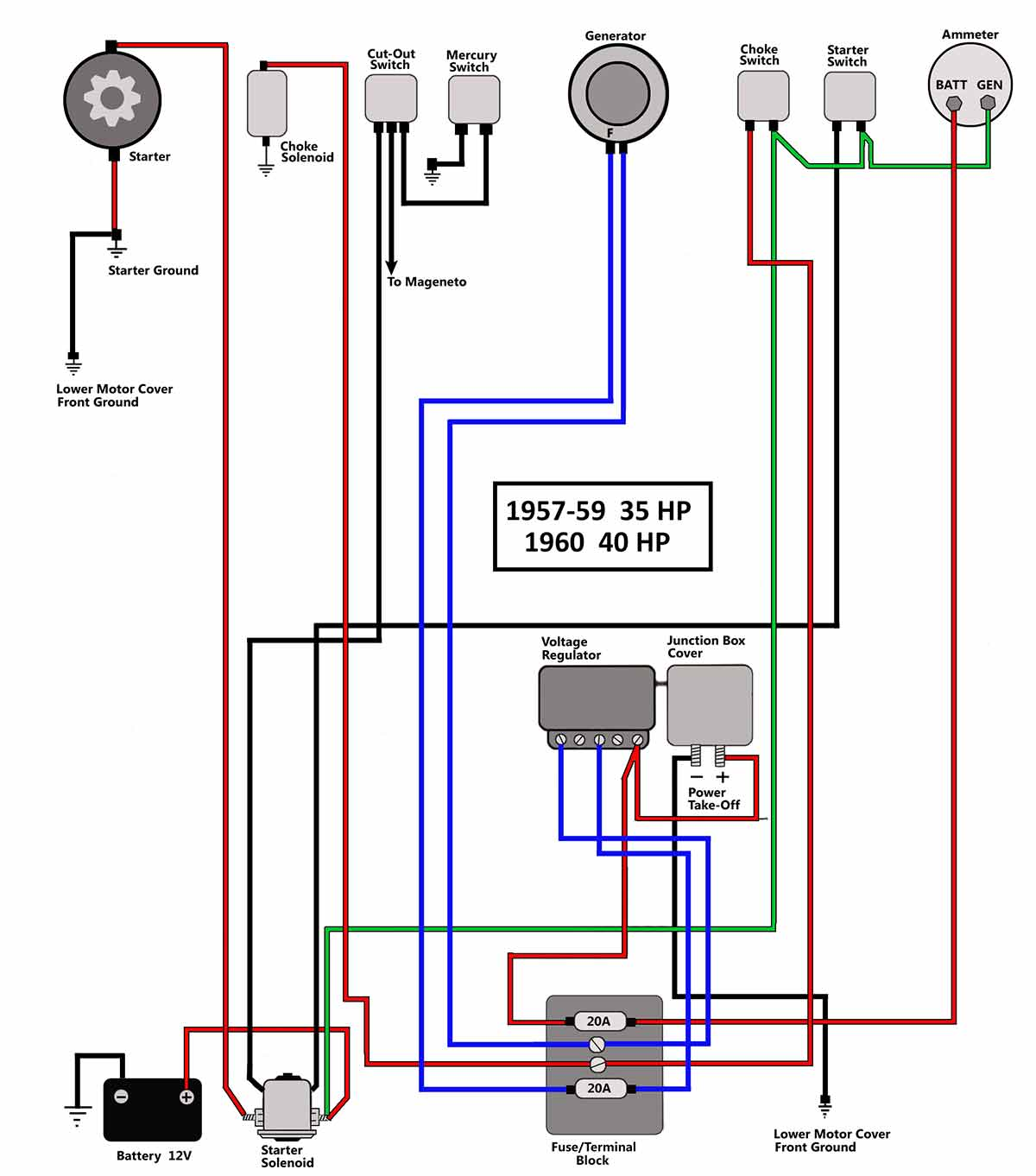 1957 60_35 40 help with wiring ignition and connecting battery to 1973 40hp wiring diagram for johnson outboard motor at mifinder.co