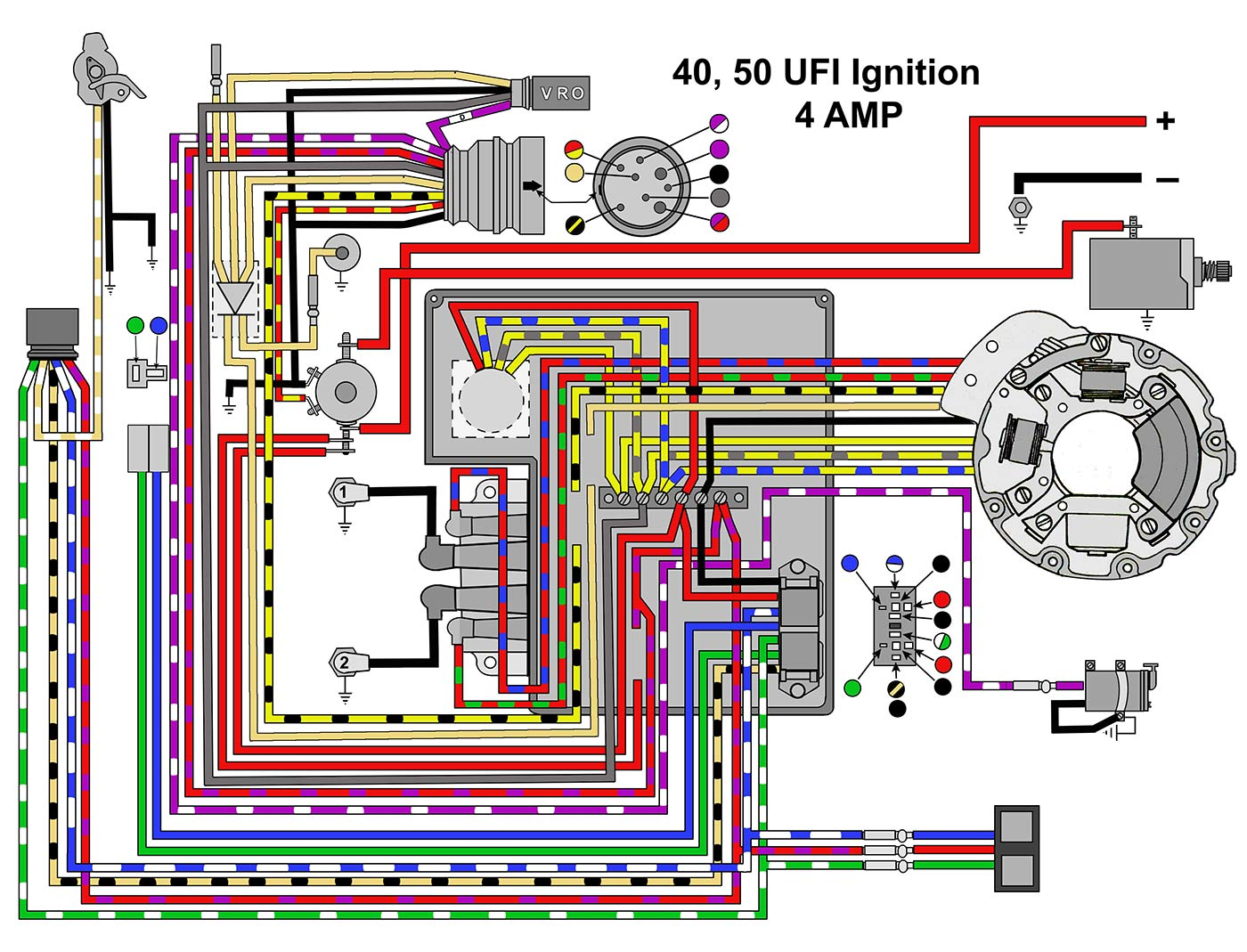 mastertech marine evinrude johnson outboard wiring diagrams Mazda Wiring Schematics 40 50 hp with ufi ignition